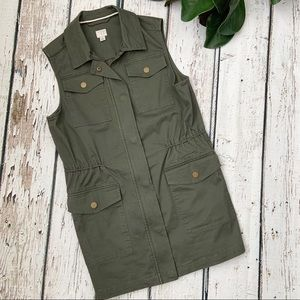 A New Day Green Military Green Sleeveless Coat Top